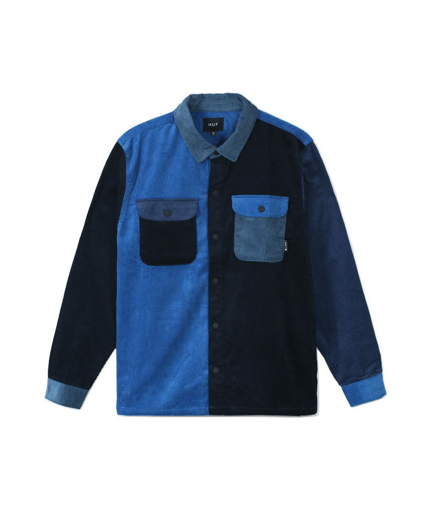 CORD BLOCK L/S OVERSHIRT(FRENCH NAVY, S)