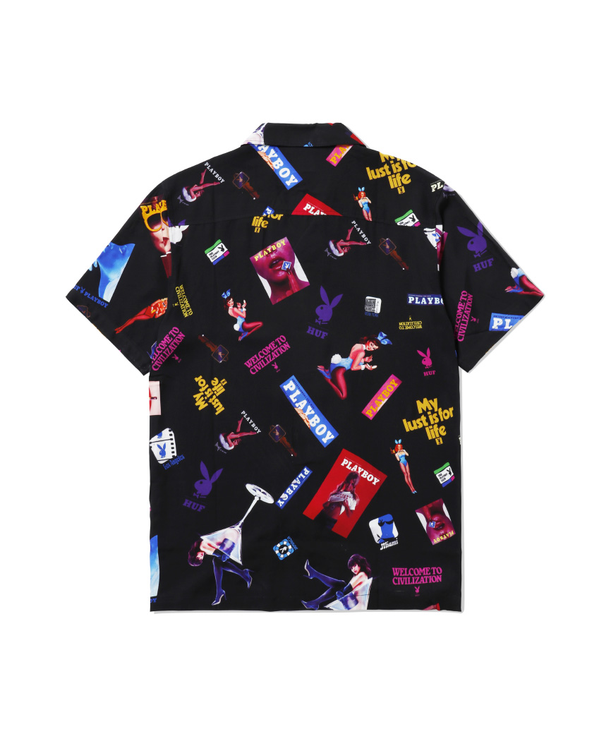 PLAYBOY COLLAGE S/S WOVEN TOP