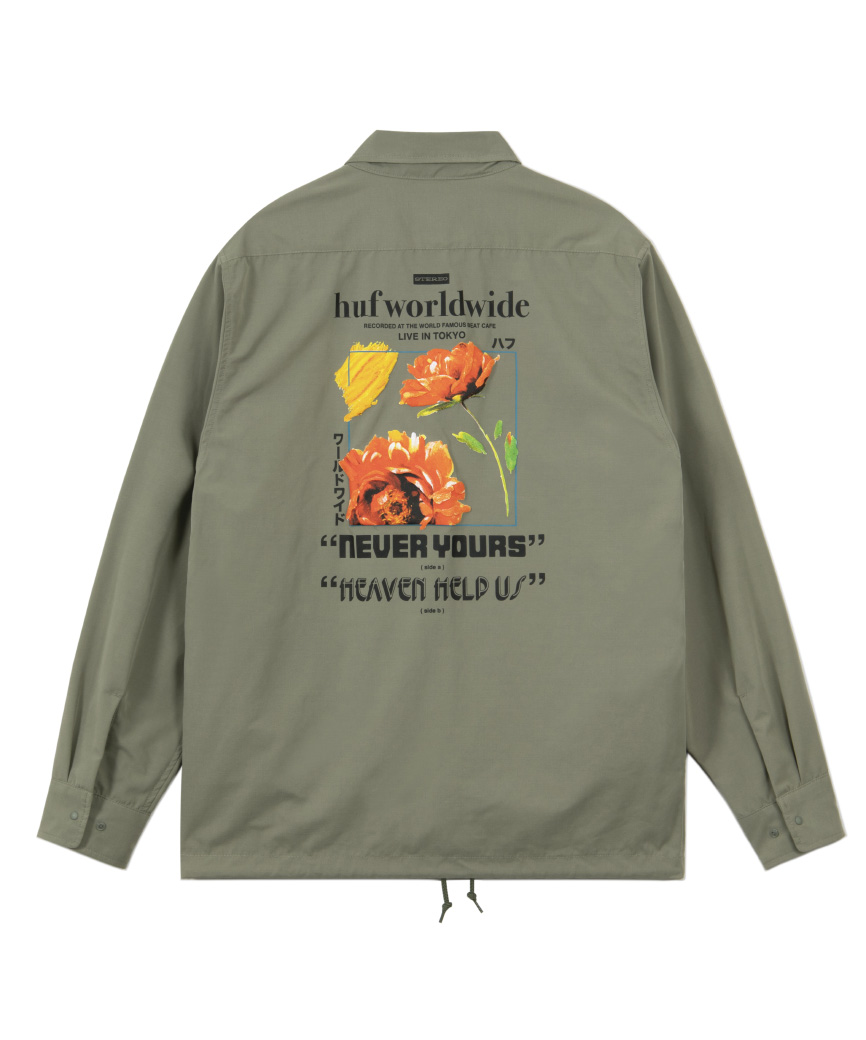 NEVER YOURS COACH SHIRT(OLIVE, XL)