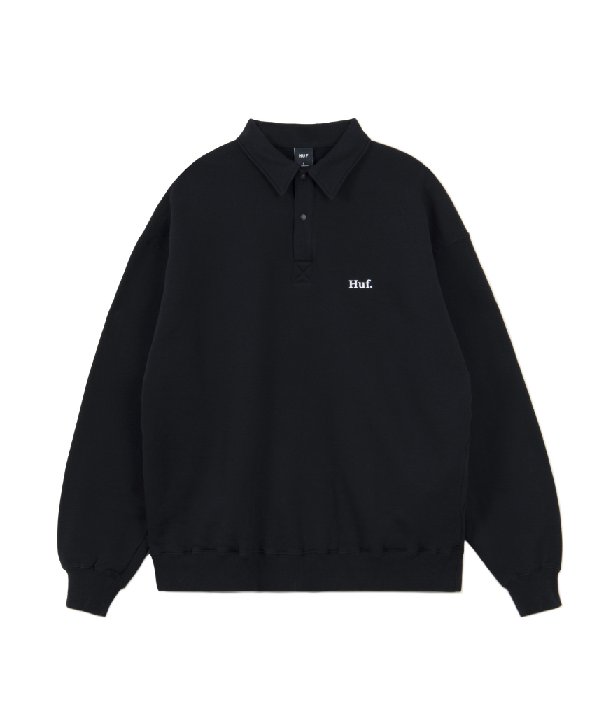 HUF. POLO FLEECE(BLACK, L)