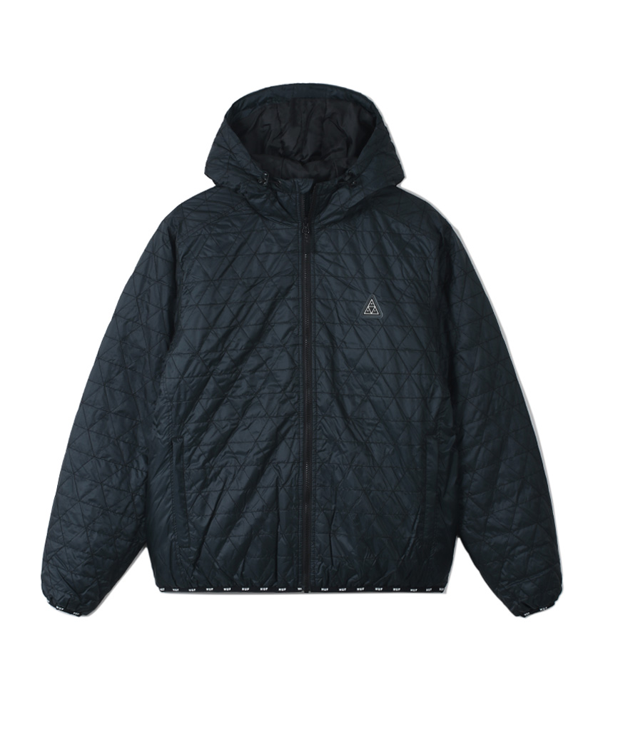 POLYGON QUILTED JACKET(BLACK, M)