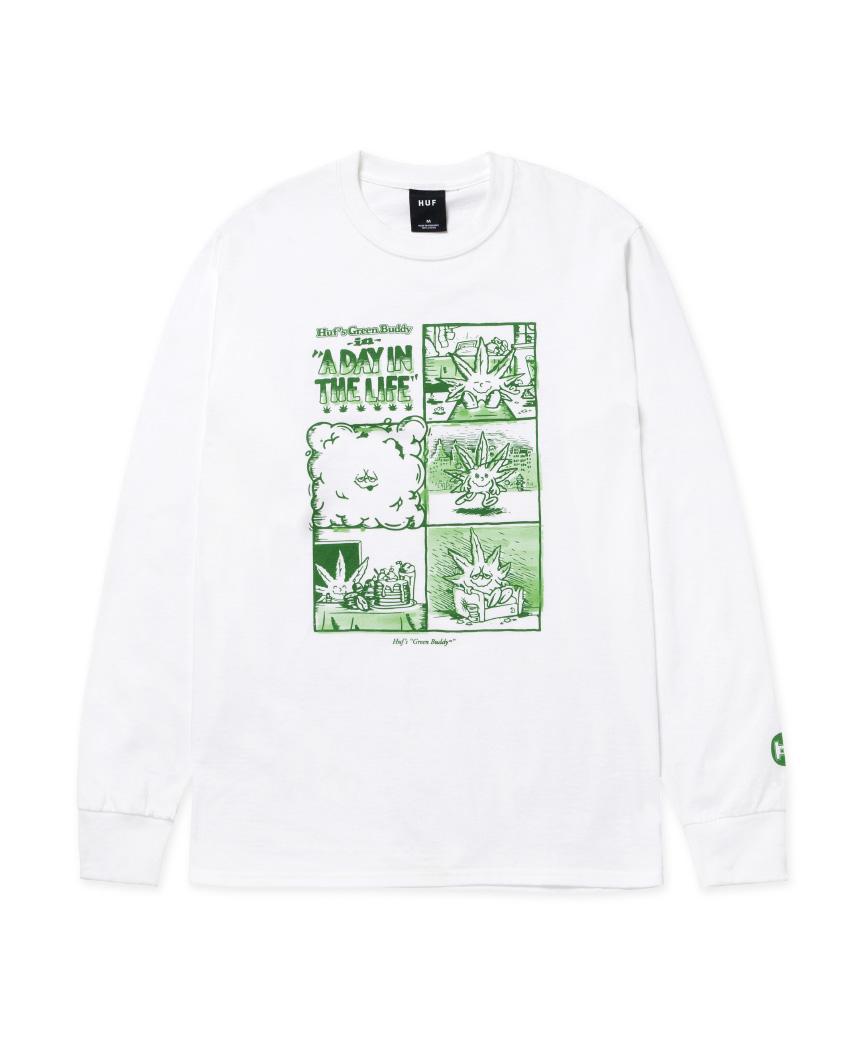 DAY IN THE LIFE L/S TEE(WHITE, M)