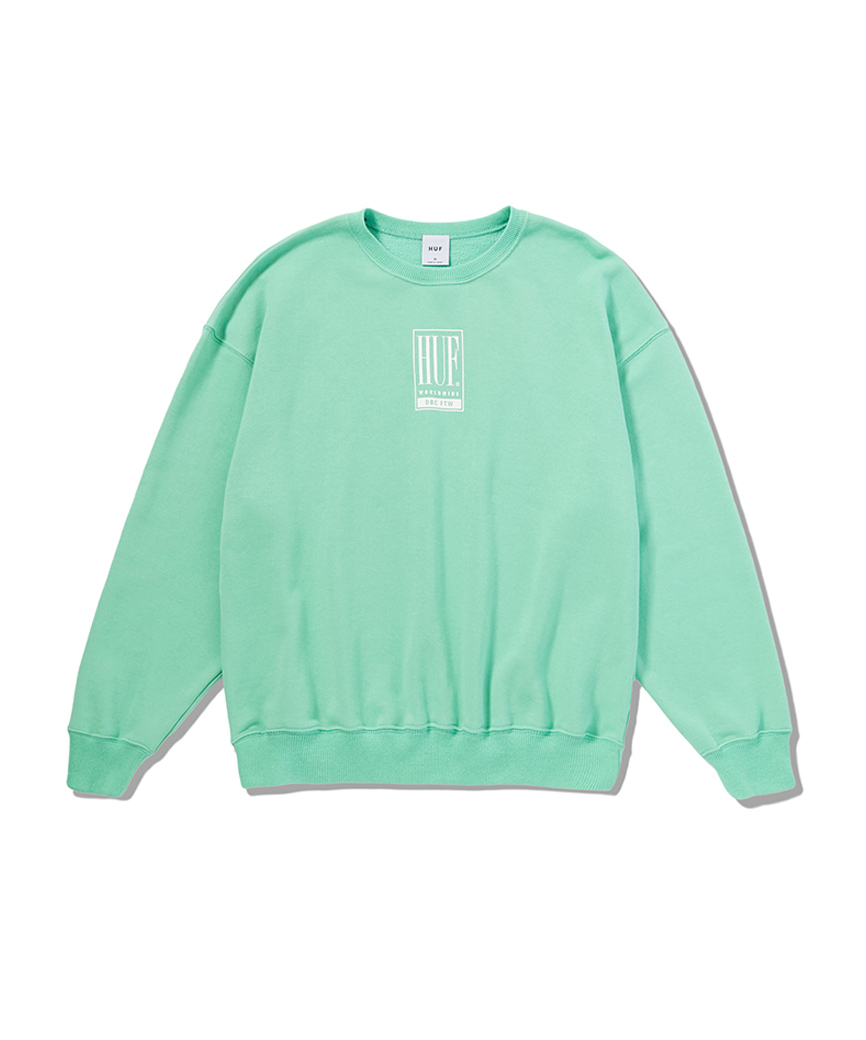 HUF WOMEN'S ELIAS CREW(LIGHT GREEN, M)